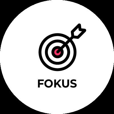 physioconcept Fokus - Zielscheibe mit Pfeil und Schriftzug Fokus