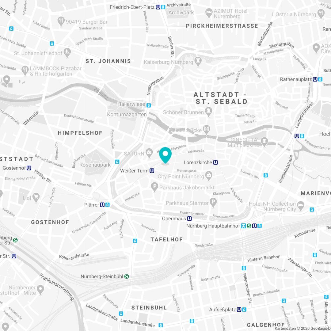 Standort Karte von physioconcept Physiotherapie Nürnberg