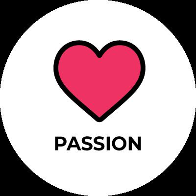 physioconcept Passion - Rot gefülltes Herz mit dem Schriftzug Passion